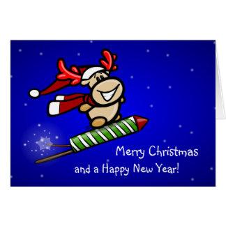Elmondo® sale por cohete de nochevieja en el año n tarjeta de felicitación