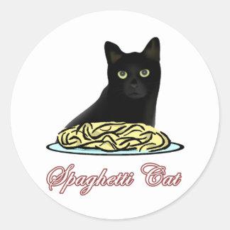 Elocuencia del gato de los espaguetis pegatina redonda