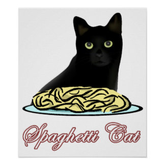 Elocuencia del gato de los espaguetis póster
