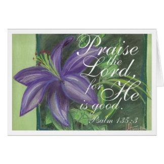 Elogie la tarjeta de nota floral del señor