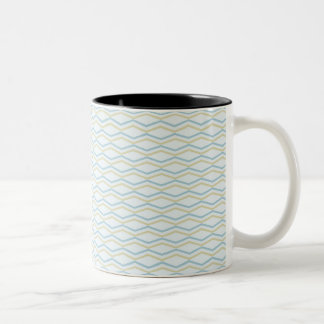 Elongated ZigZags in Gold & Blue Two-Tone Coffee Mug