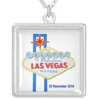 Elope Las Vegas que casa la fecha Colgante Cuadrado