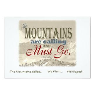 """Eloped en vintage de las montañas; Muir-Mtns llamó Invitación 5"""" X 7"""""""