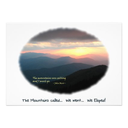Eloped in the Mountains / Mtns Called - We Eloped! Personalized Announcement