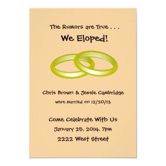 ¡Eloped! invitación del banquete de boda del poste