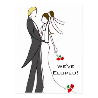 Eloped Marriage Post Event Party Postcard