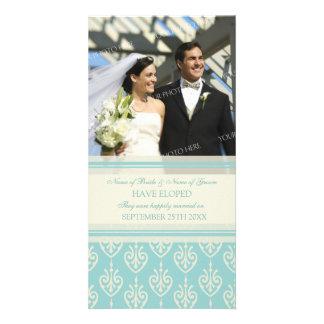 Elopement Announcement Photo Card Aqua Cream