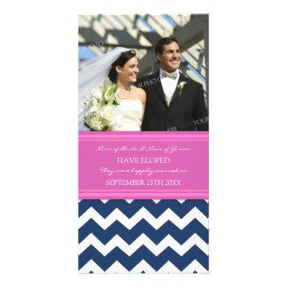 Elopement Announcement Photo Card Blue Chevron
