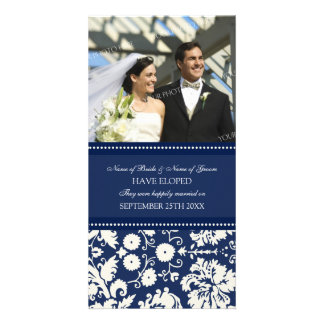Elopement Announcement Photo Card Blue Damask