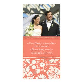 Elopement Announcement Photo Card Coral Damask