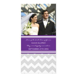 Elopement Announcement Photo Card Gray Chevron