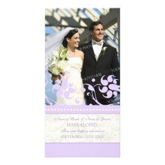 Elopement Announcement Photo Card Lavender Floral