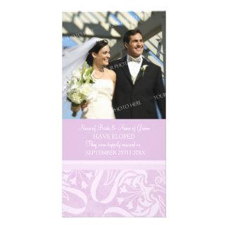Elopement Announcement Photo Card Lavender Swirls