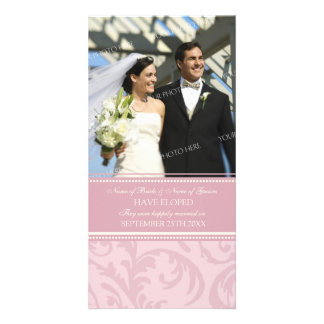 Elopement Announcement Photo Card Pink and Cream