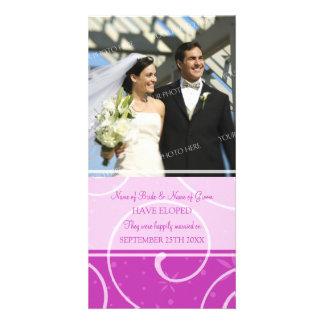 Elopement Announcement Photo Card Pink Swirls
