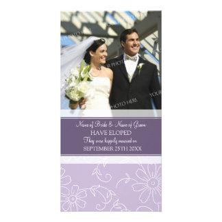 Elopement Announcement Photo Card Purple Floral