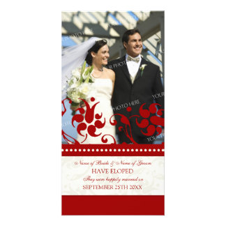 Elopement Announcement Photo Card Red Floral