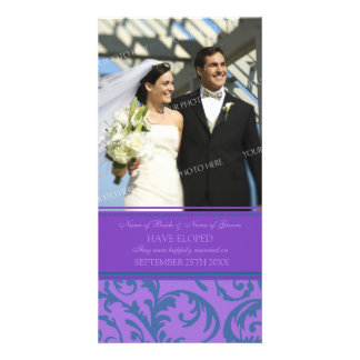 Elopement Announcement Photo Card Teal and Purple