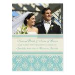 Elopement Announcement Photo Postcards Aqua Cream