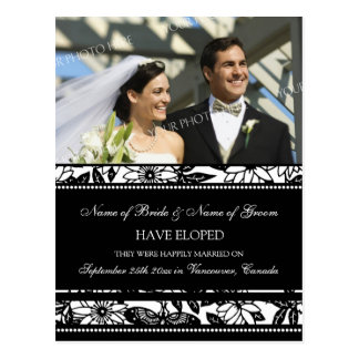 Elopement Announcement Photo Postcards Black White