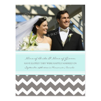 Elopement Announcement Photo Postcards Blue Gray
