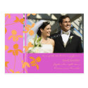 Elopement Announcement Photo Postcards Pink Orange