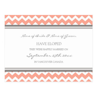 Elopement Announcement Postcards Coral Gray
