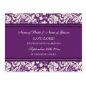 Elopement Announcement Postcards Purple Damask
