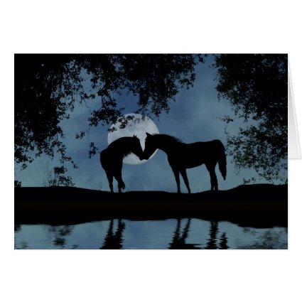 Elopement Announcement With Horses and Moon Greeting Cards