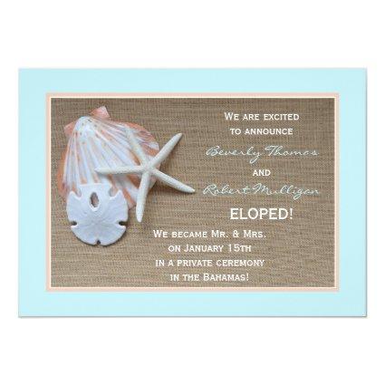 """Elopement Announcements - Beach Theme 5"""" X 7"""" Invitation Card"""