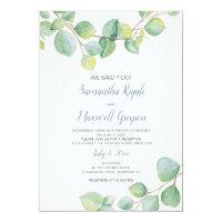 Elopement Reception Invitation, Eucalyptus Invitation