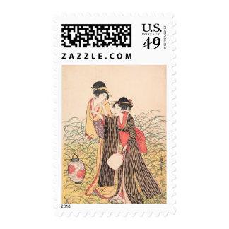 Elopers in Musashino Kitagawa Utamaro japanese art Postage Stamp