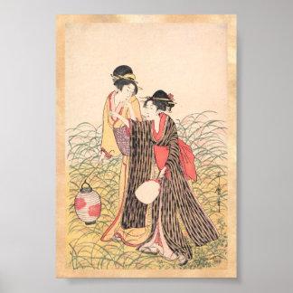 Elopers in Musashino Kitagawa Utamaro japanese art Poster