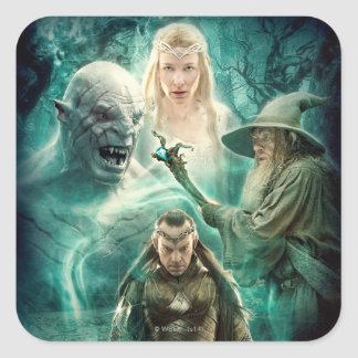 Elrond, Azog, Galadriel, & Gandalf Graphic Square Sticker