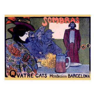 """""""Els Quatre Gats"""" cartel modernista de Ramón Casas Tarjeta Postal"""