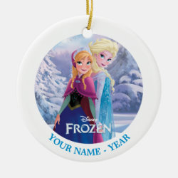 Circle Ornament with Sisters Anna & Elsa of Disney's Frozen design