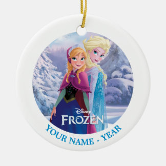Elsa and Anna | Back To Back Add Your Name Ceramic Ornament
