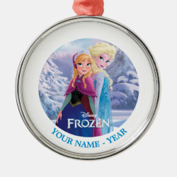 Premium circle Ornament with Sisters Anna & Elsa of Disney's Frozen design
