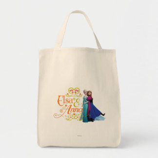 Elsa and Anna Standing Back to Back Canvas Bags