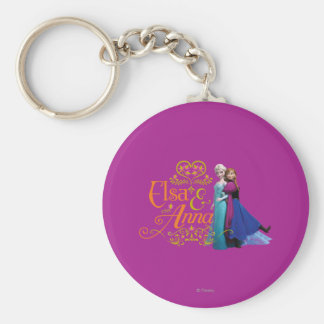 Elsa and Anna Standing Back to Back Key Chains