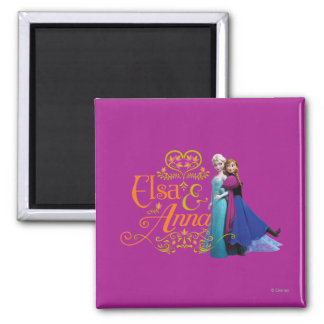 Elsa and Anna Standing Back to Back Magnets