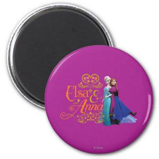 Elsa and Anna Standing Back to Back Fridge Magnets