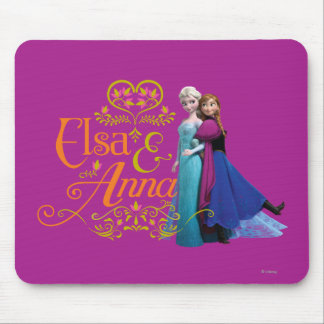 Elsa and Anna Standing Back to Back Mouse Pad