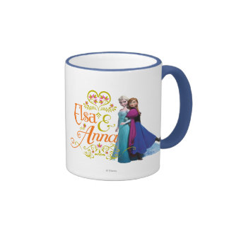 Elsa and Anna Standing Back to Back Ringer Coffee Mug
