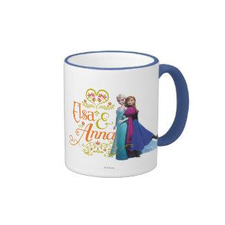 Elsa and Anna Standing Back to Back Ringer Coffee Mug