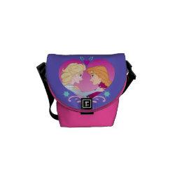 Rickshaw Large Zero Messenger Bag with Disney Princesses Anna & Elsa in Heart design