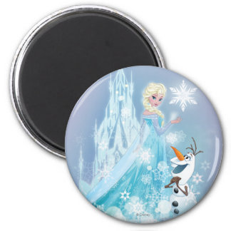 Elsa and Olaf - Icy Glow 2 Inch Round Magnet