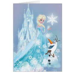 Greeting Card with Snow Queen Elsa and Olaf design