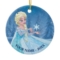 Elsa | Catching Snowflake Add Your Name Ceramic Ornament
