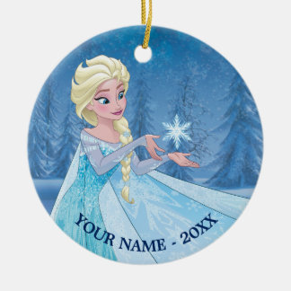 Elsa   Catching Snowflake Add Your Name Ceramic Ornament